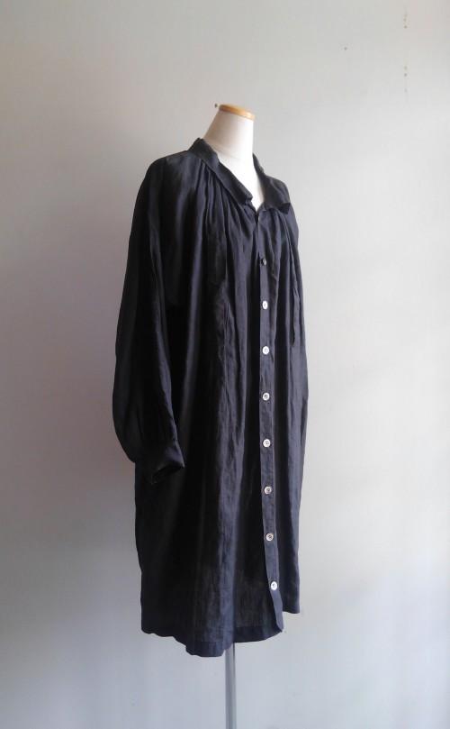 1900's Black Linen Smock (Dead Stock 未使用) ¥120,000+tax