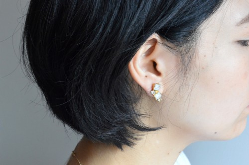 Antique Rhinestone & Glass Earrings ¥11,000+tax