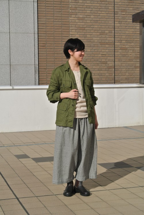 Jacket : British Army Bush Jacket ‥以下Juilletアイテム‥ Cut&Sewn : Garment Reproduction Of Workers Bottoms : Veritecoeur Shoes : Blandstone