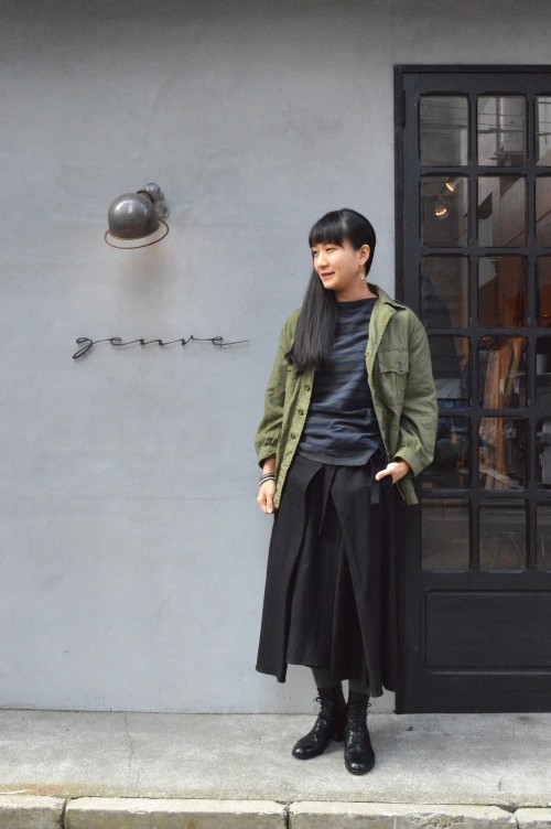 Jacket : British Army Bush Jacket Cut&Sewn : Vintage Basque Shirts Skirt : Forme D'expression