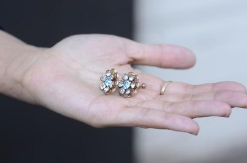 Vintage Costume Jewelry Rhinestone Earrings : ¥18,000+tax