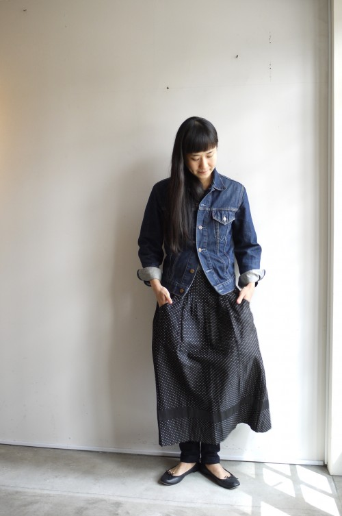 Denim Jacket : Euro Levi's ¥28,000+tax Apron : Vintage Au Bon Marche(Dead Stock) ¥41,000+tax Shoes : repetto ¥34,000+tax